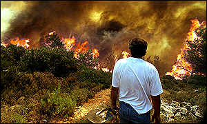 People watched helpless as fire devours forests near Athens (BBC)